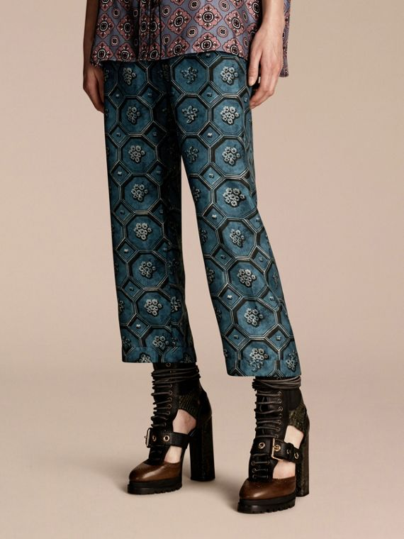 Geometric Wallpaper Print Silk Twill Cropped Pyjama-style Trousers Dark Mineral Blue