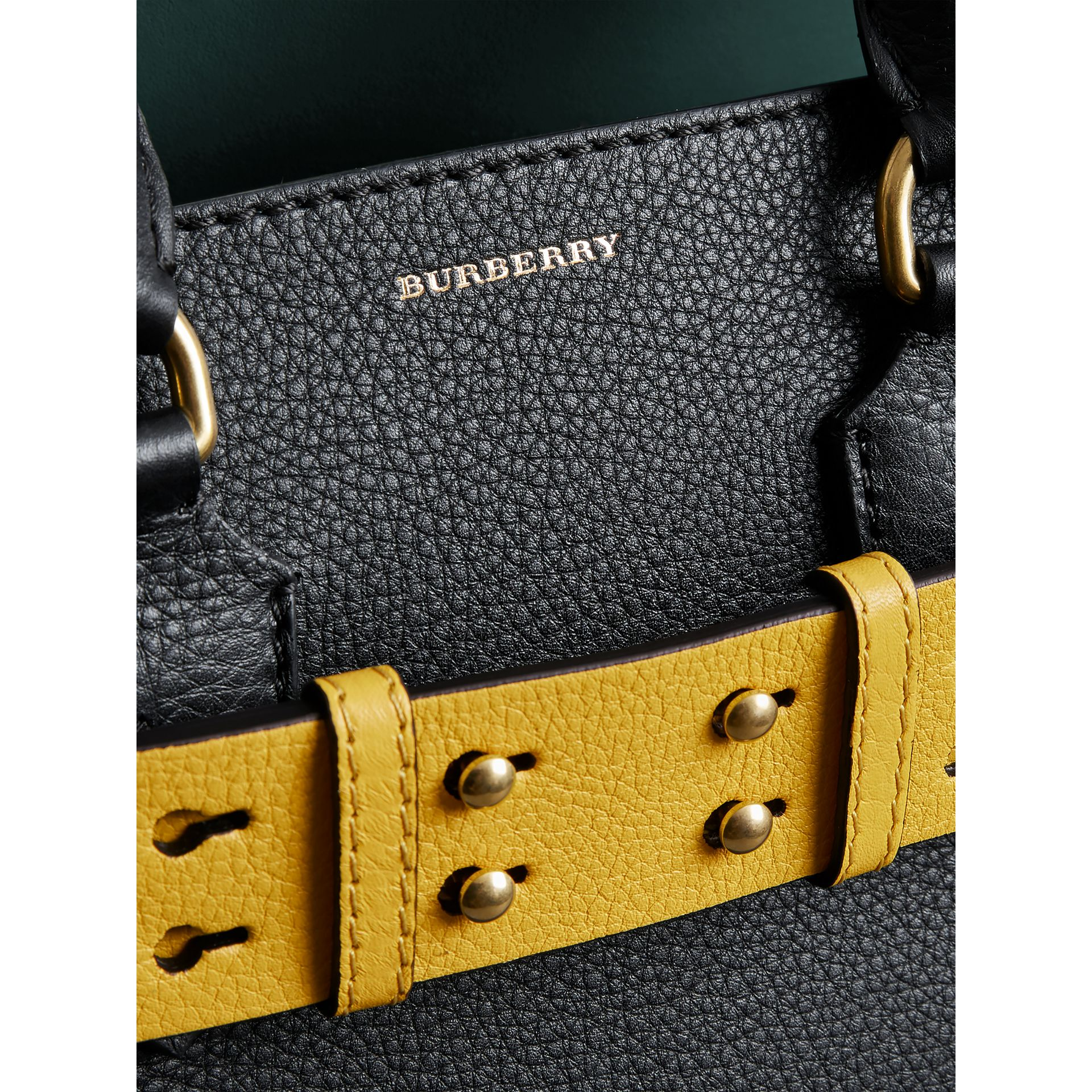 The Small Leather Belt Bag in Black/yellow - Women | Burberry - gallery image 1