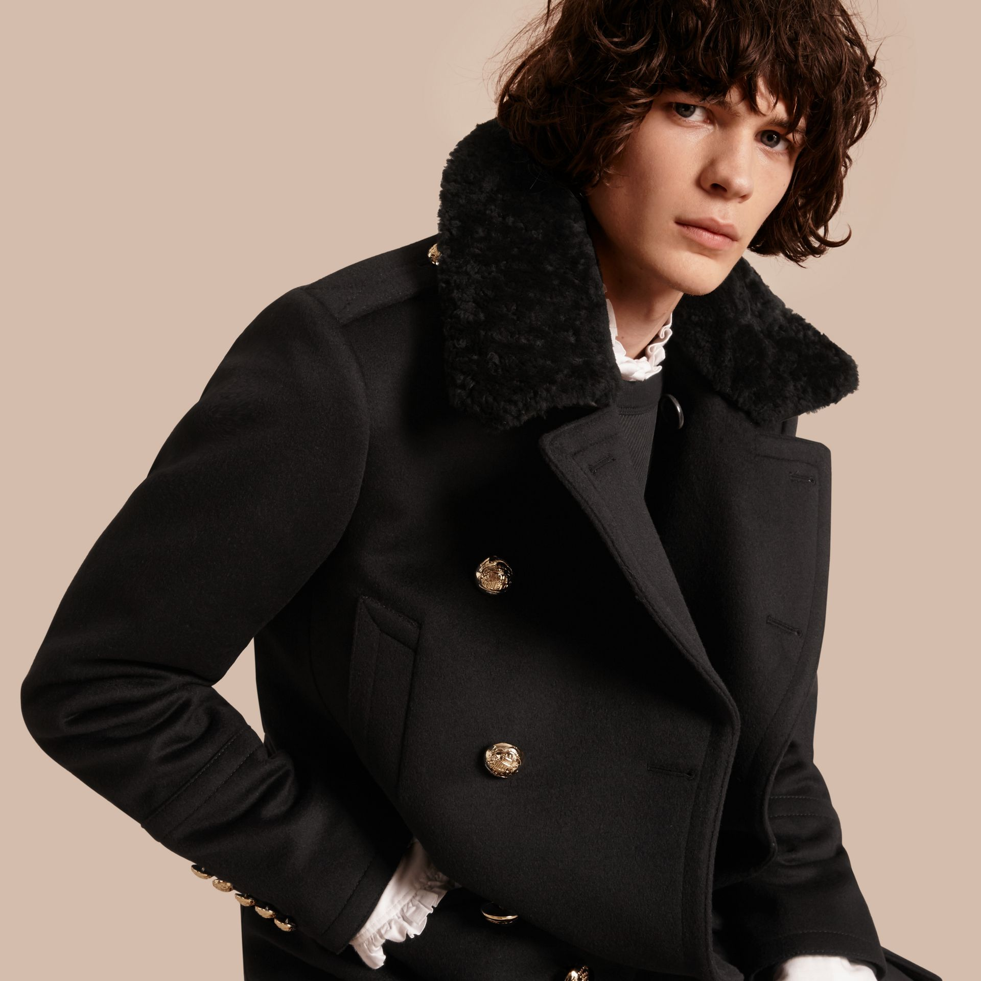 Black Military Pea Coat with Detachable Shearling Collar - gallery image 7
