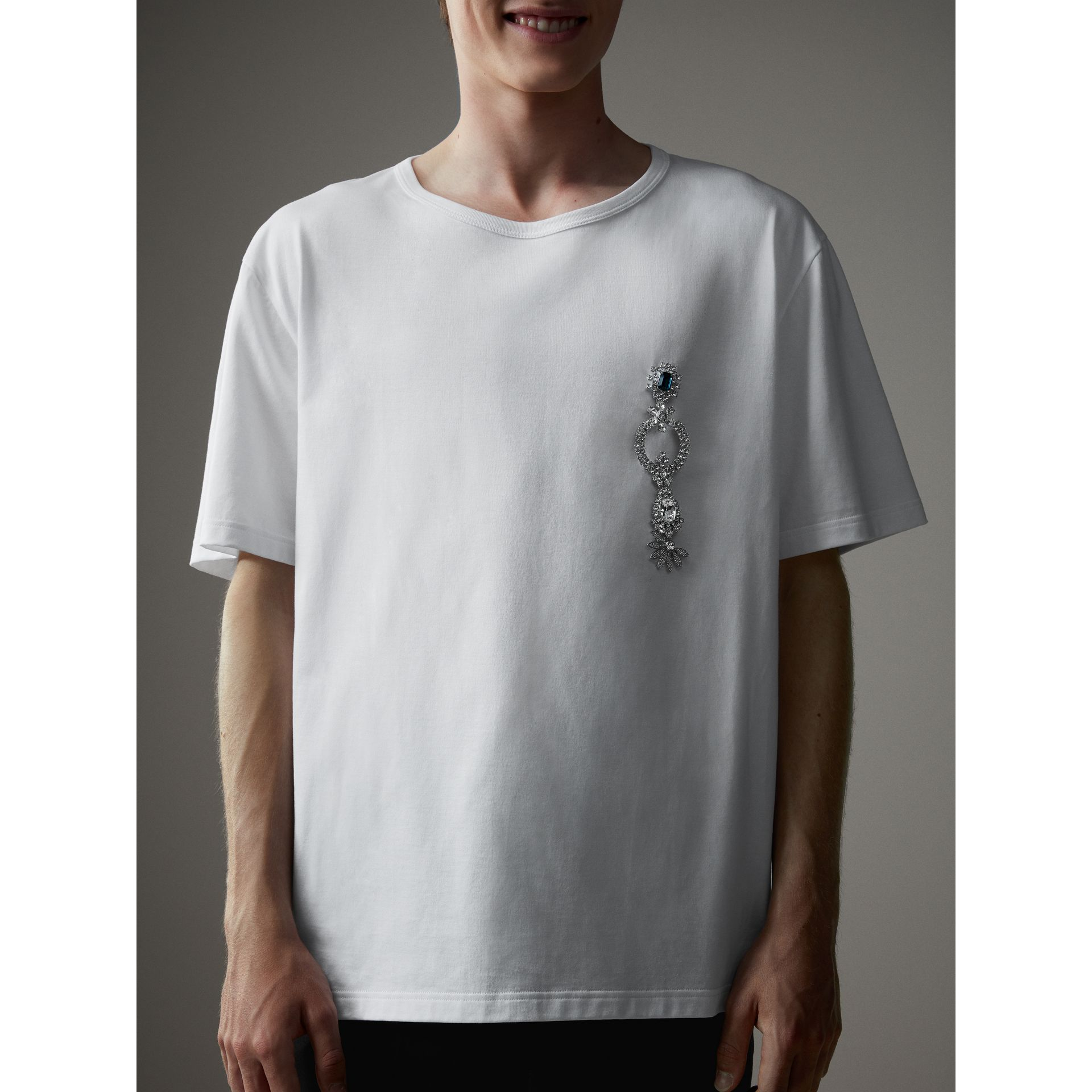 Boxy Fit T-shirt with Crystal Brooch in Optic White - Men | Burberry - gallery image 4