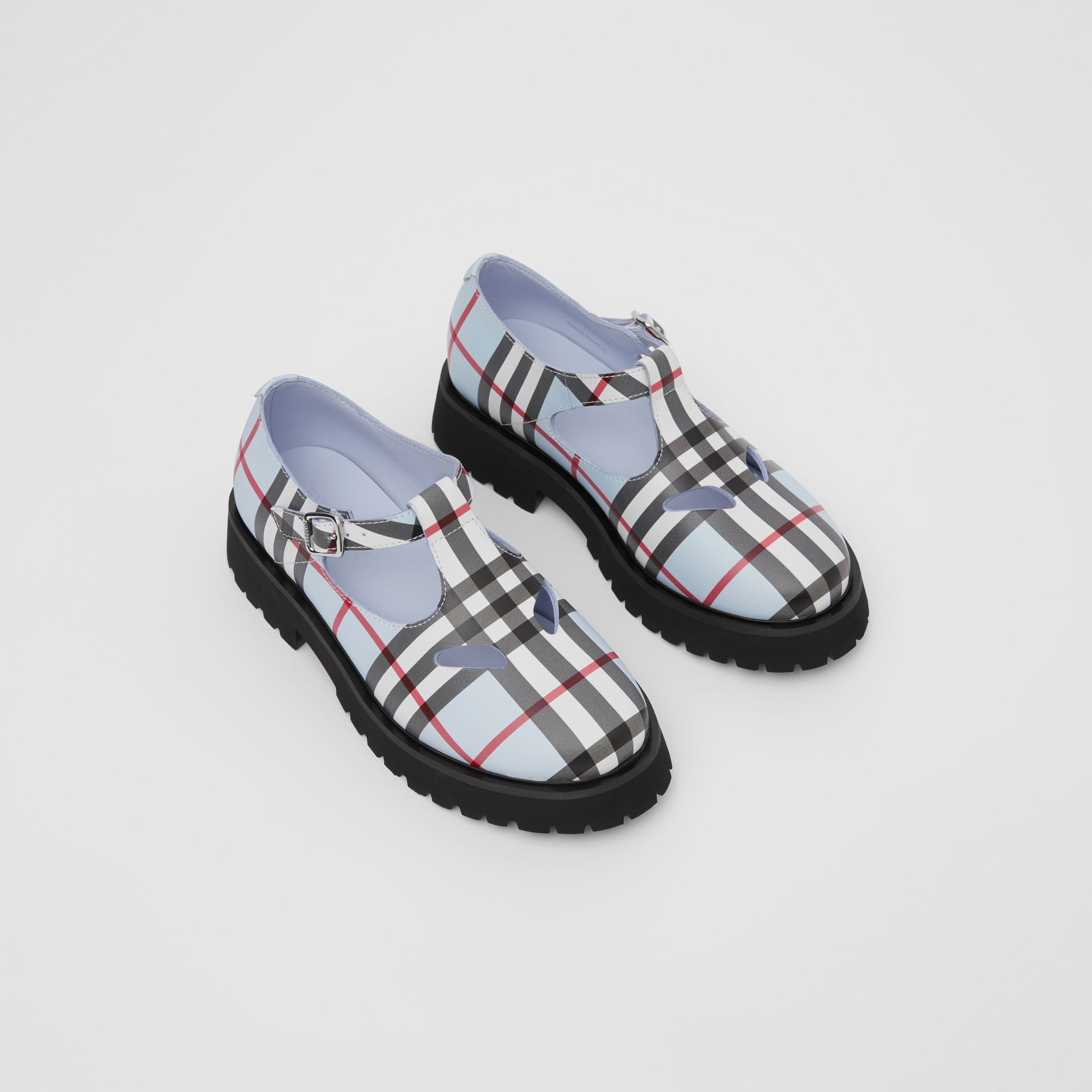 Vintage Check Leather T-bar Shoes in Pale Blue - Children | Burberry - gallery image 0