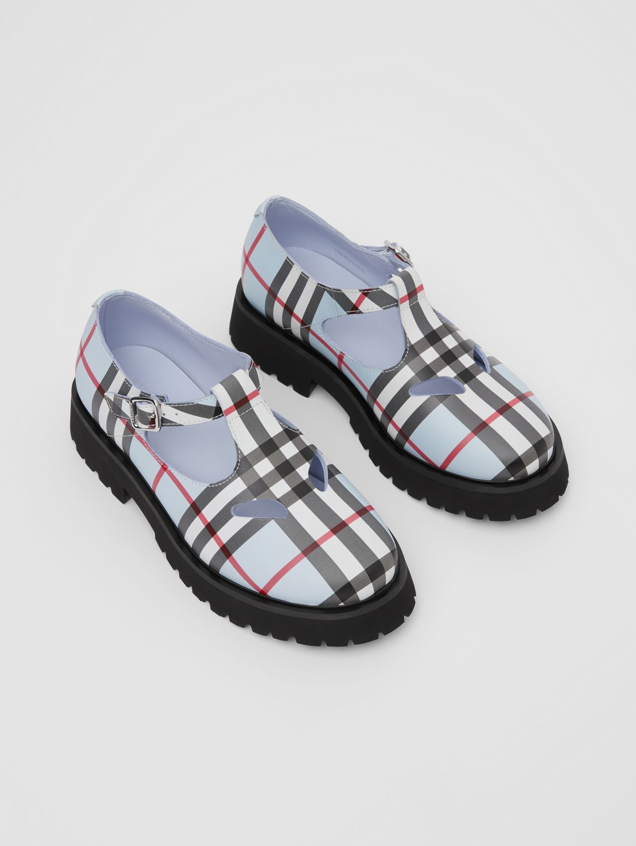 Vintage Check Leather T-bar Shoes in Pale Blue