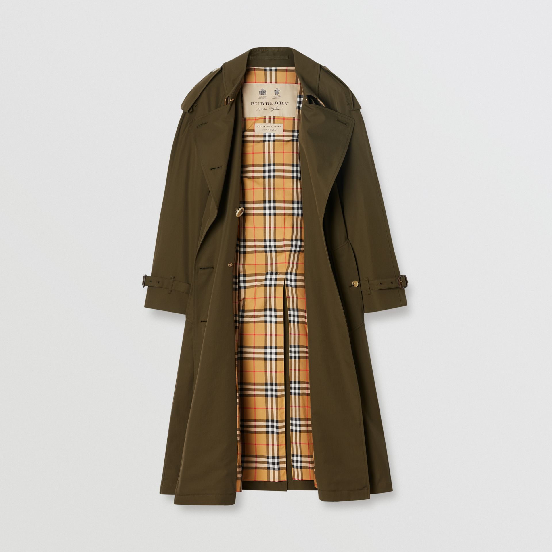 The Long Westminster Heritage Trench Coat in Dark Military Khaki - Women | Burberry Singapore - gallery image 3