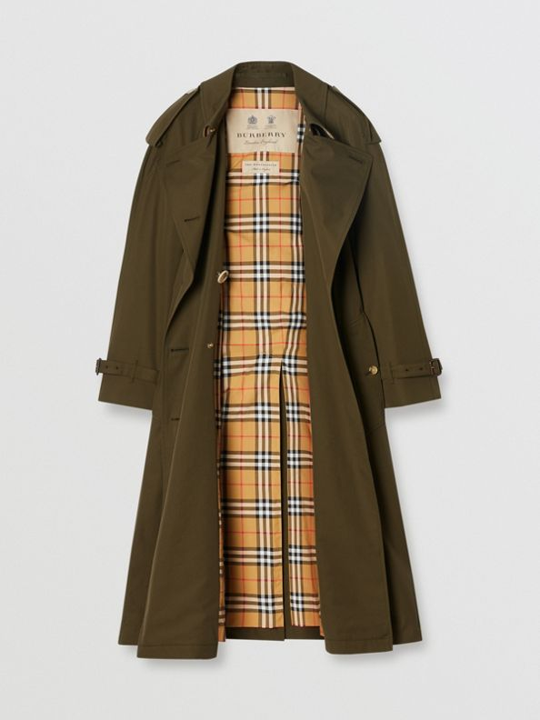 Tropical Gabardine Long Trench Coat in Dark Military Khaki