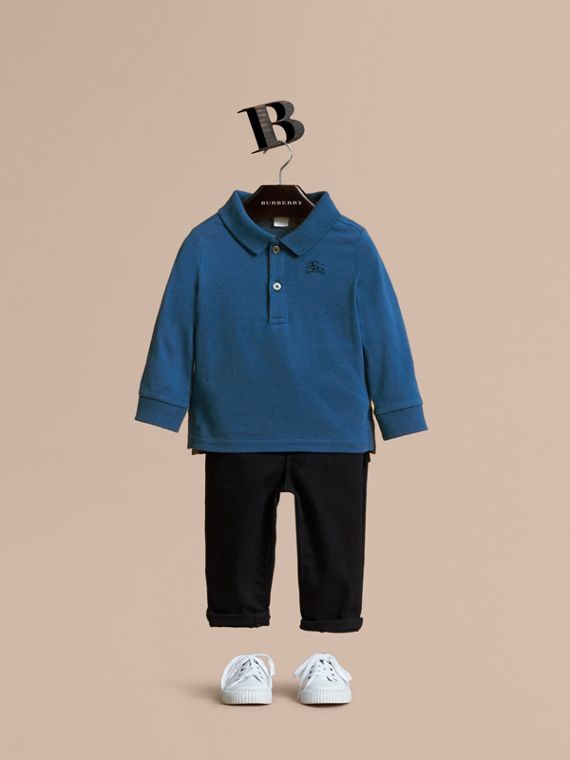 Long-sleeve Cotton Jersey Polo Shirt in Marine Blue
