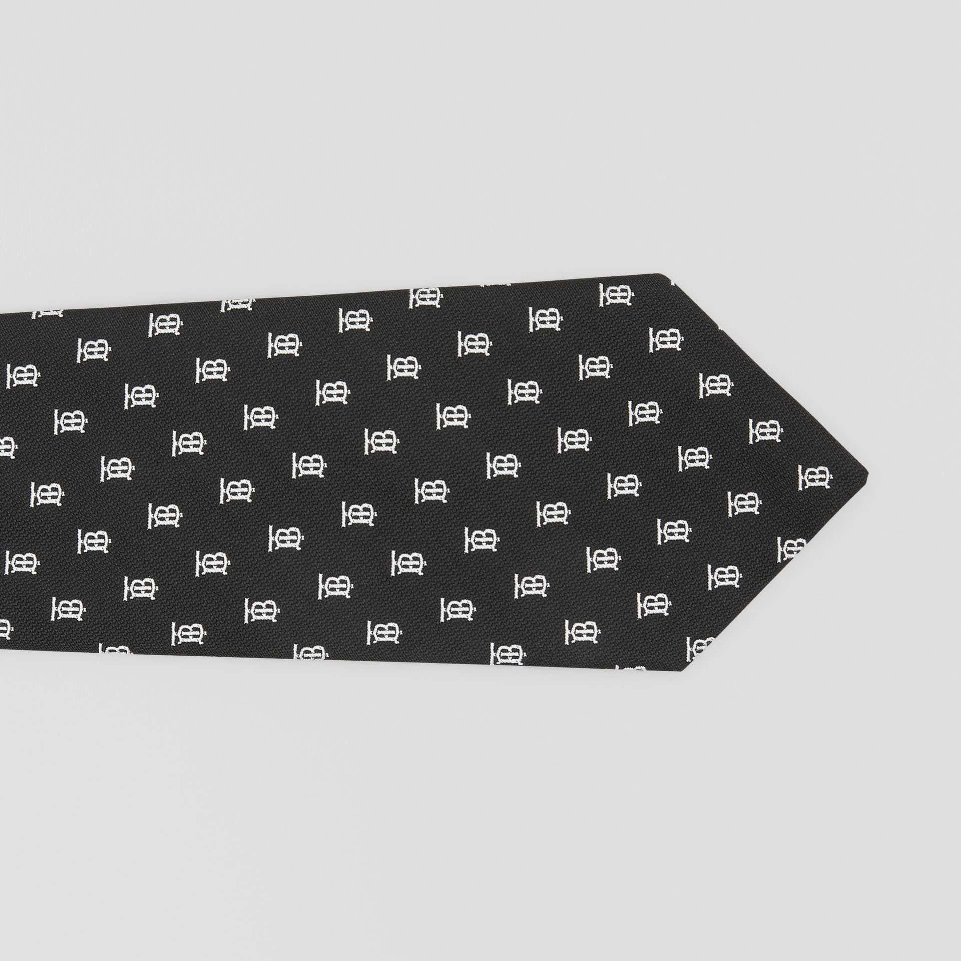 Classic Cut Monogram Motif Silk Jacquard Tie in Black - Men | Burberry - gallery image 1