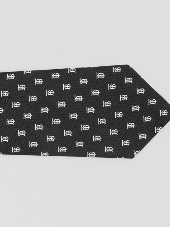 Classic Cut Monogram Motif Silk Jacquard Tie in Black - Men | Burberry - cell image 1