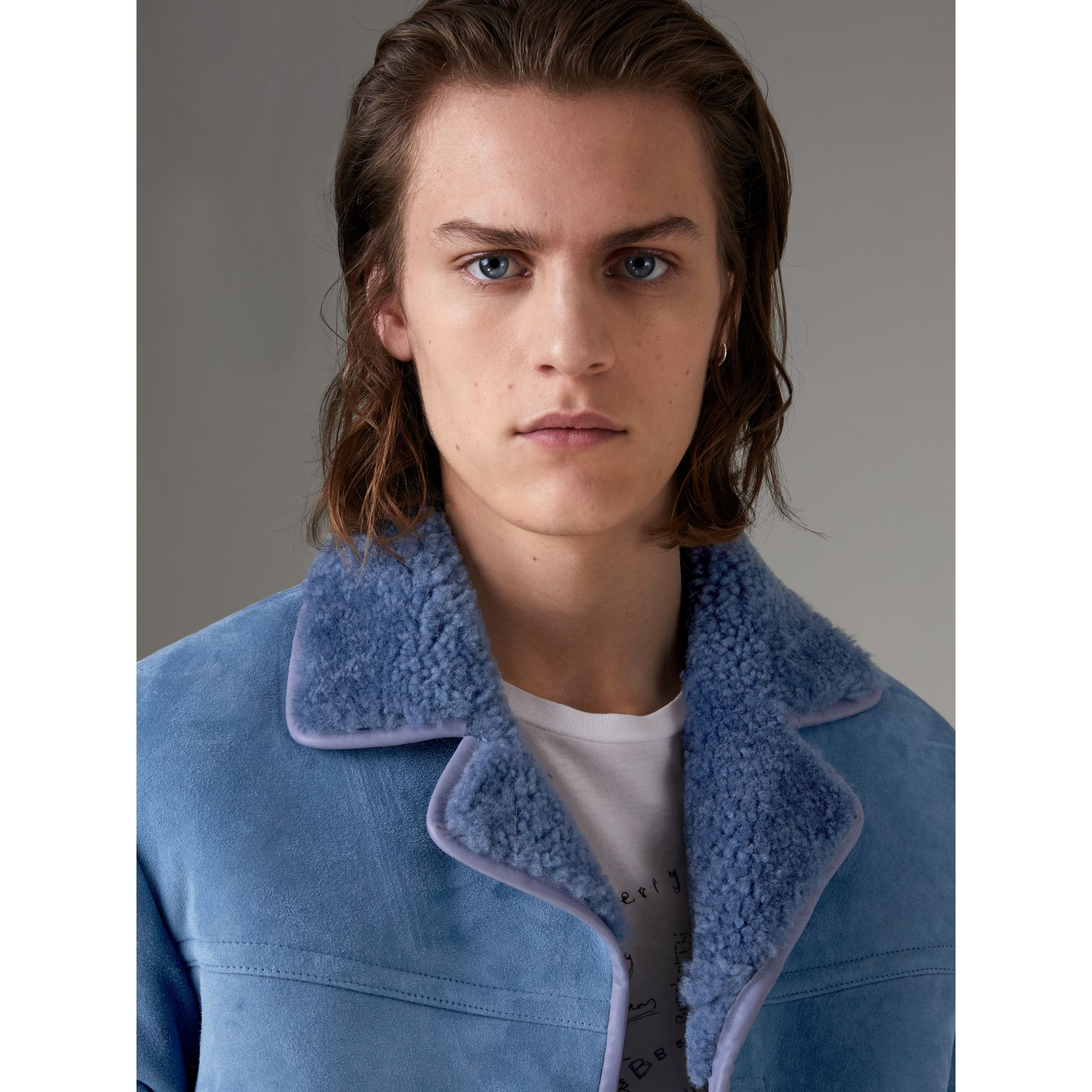 Leather Trim Shearling Jacket in Grey Blue - Men | Burberry Singapore - gallery image 1