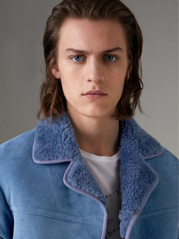 Leather Trim Shearling Jacket in Grey Blue - Men | Burberry - cell image 1