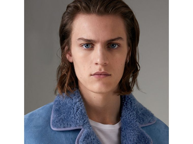 Leather Trim Shearling Jacket in Grey Blue - Men | Burberry Singapore - cell image 1