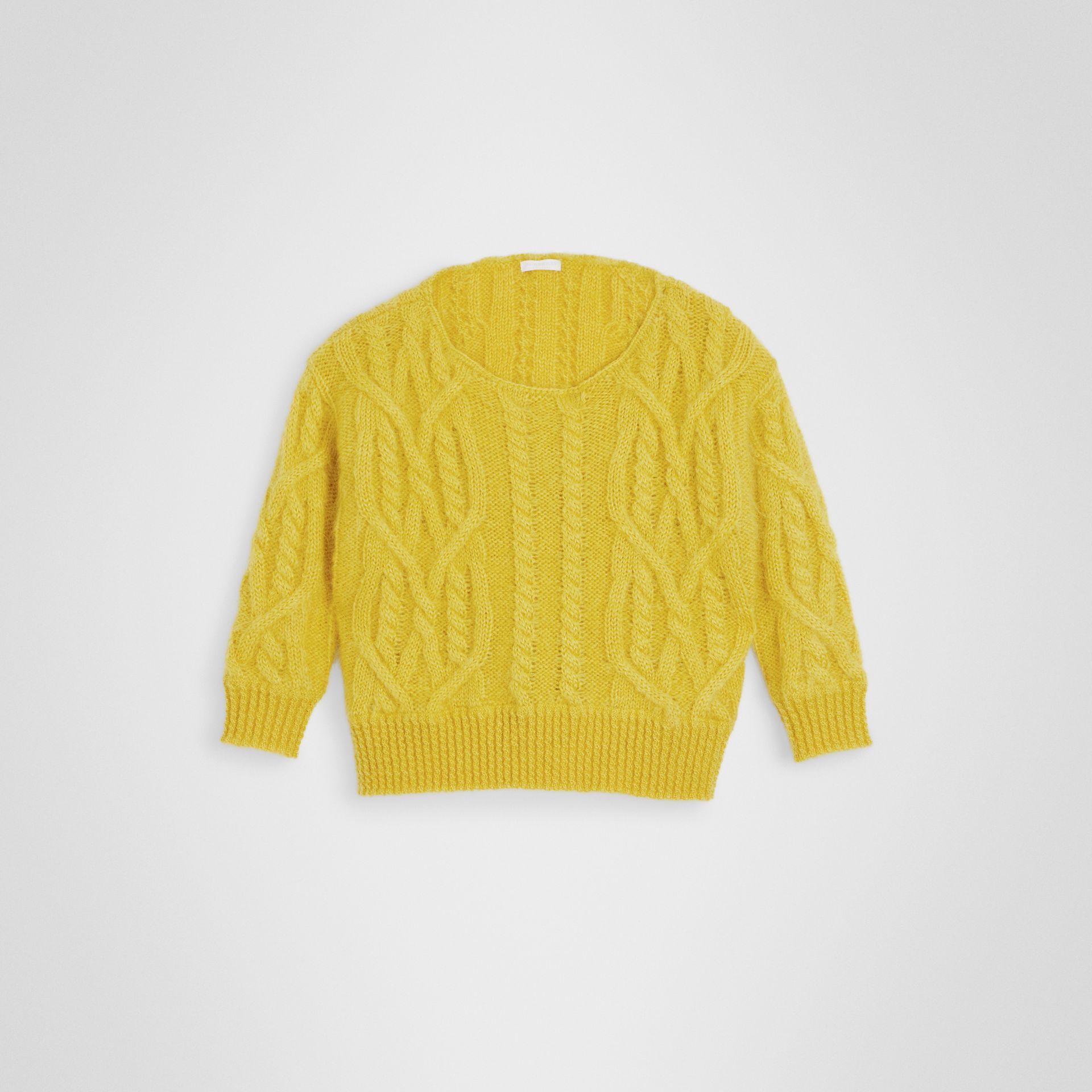 Cable Knit Mohair Wool Sweater in Bright Yellow | Burberry United Kingdom - gallery image 0