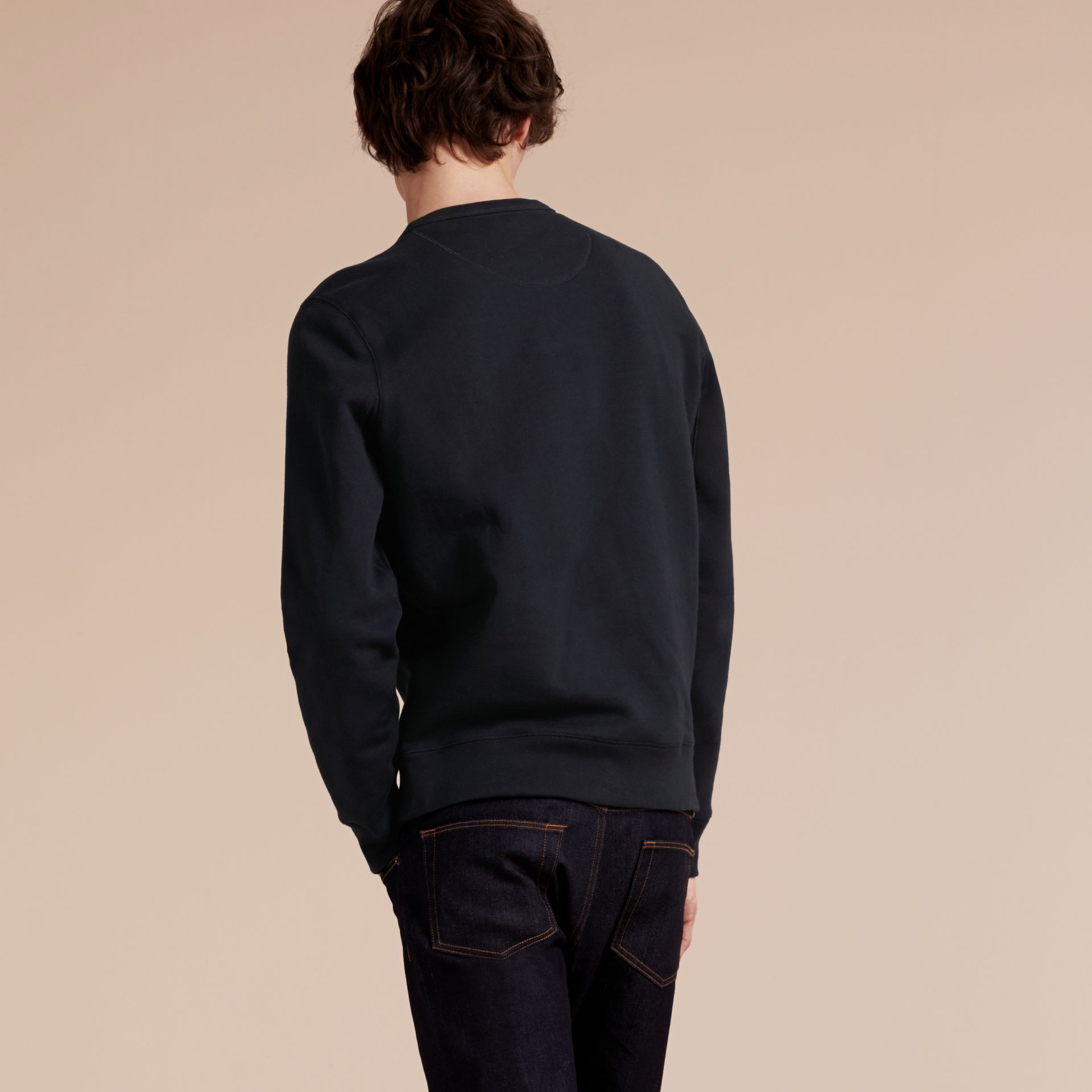 Navy Cotton Blend Jersey Sweatshirt Navy - gallery image 3