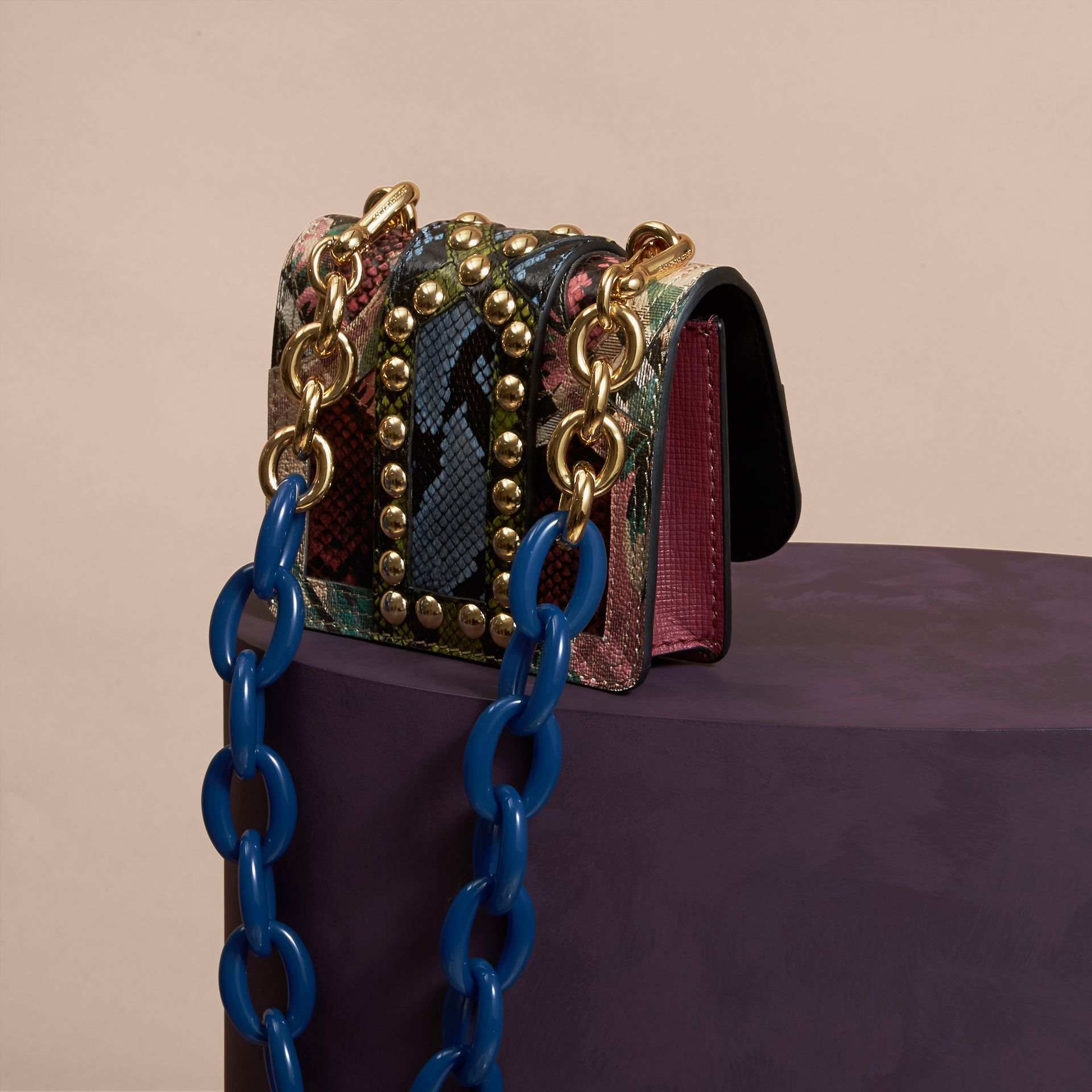 The Mini Square Buckle Bag in Riveted Snakeskin and Floral Print - gallery image 4