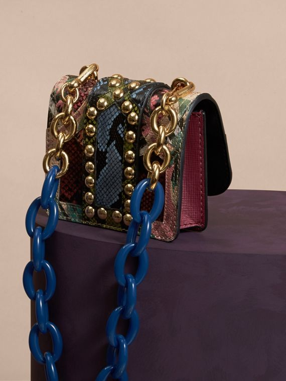 Emerald green The Mini Square Buckle Bag in Riveted Snakeskin and Floral Print - cell image 3