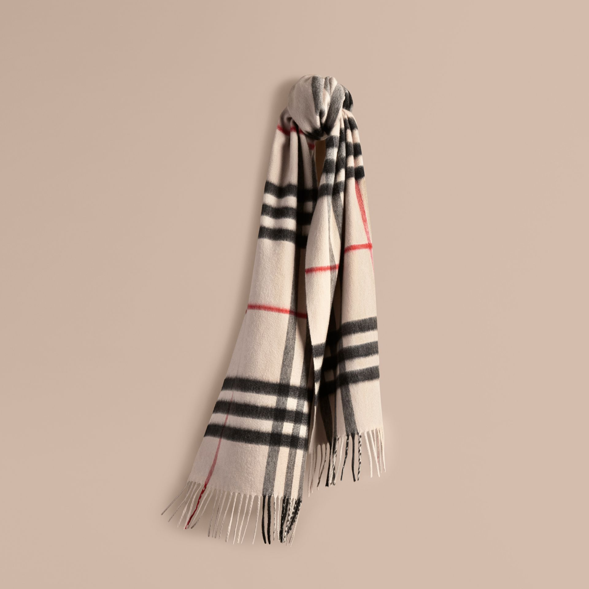 The Classic Cashmere Scarf in Check in Stone - gallery image 6