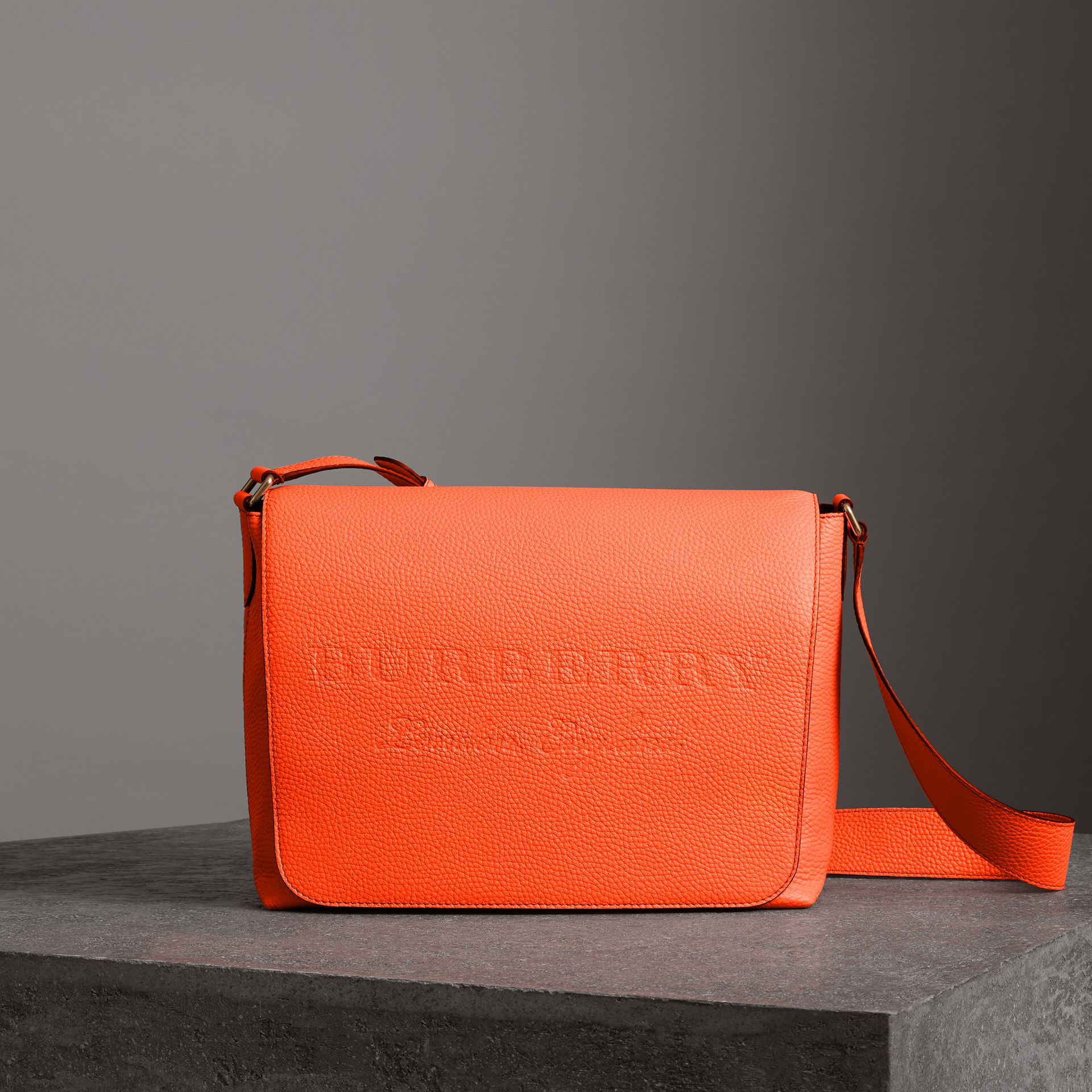 Large Embossed Leather Messenger Bag in Neon Orange | Burberry United States - gallery image 0