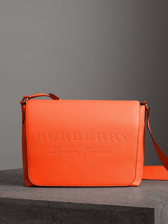 Large Embossed Leather Messenger Bag in Neon Orange