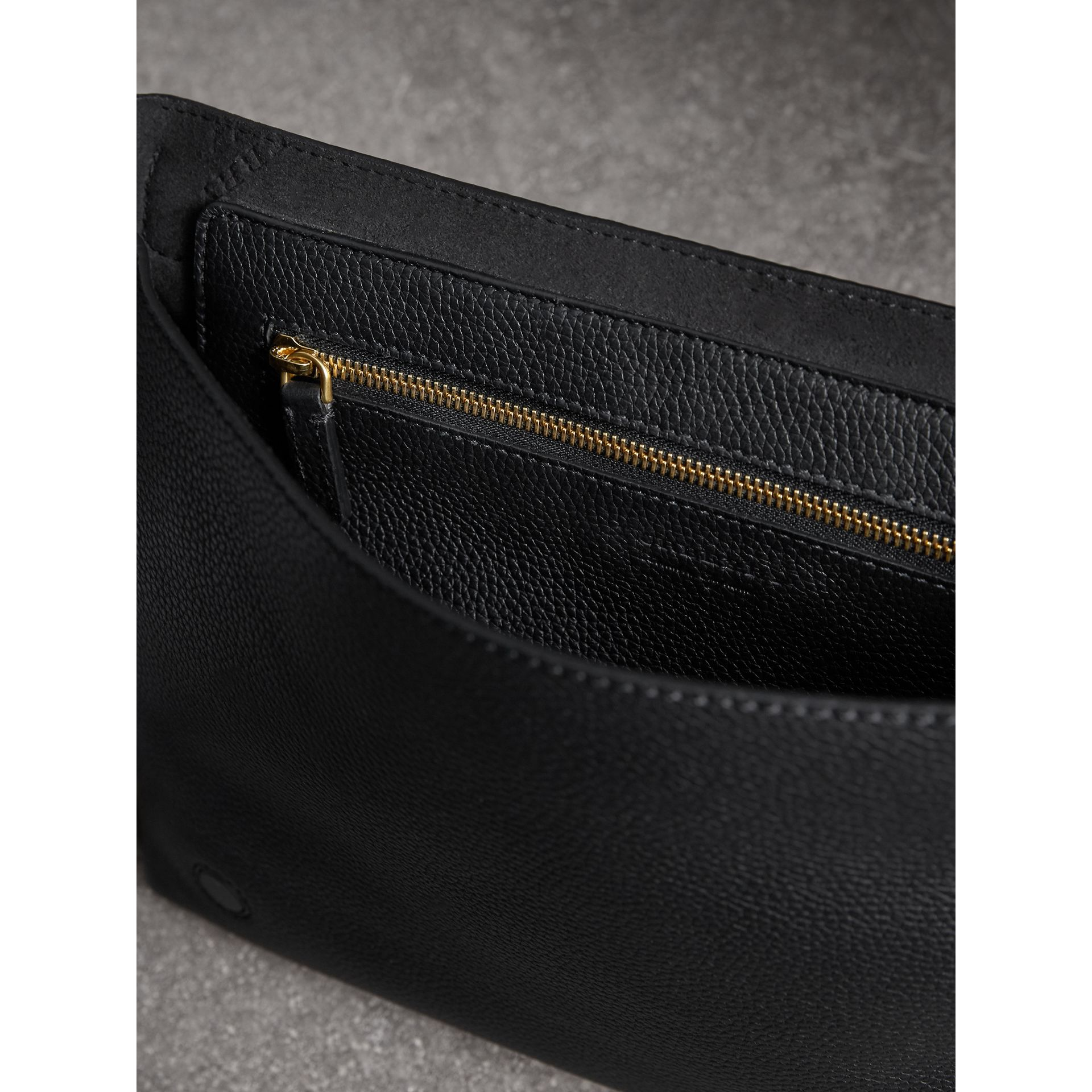Medium Embossed Leather Messenger Bag in Black | Burberry - gallery image 6