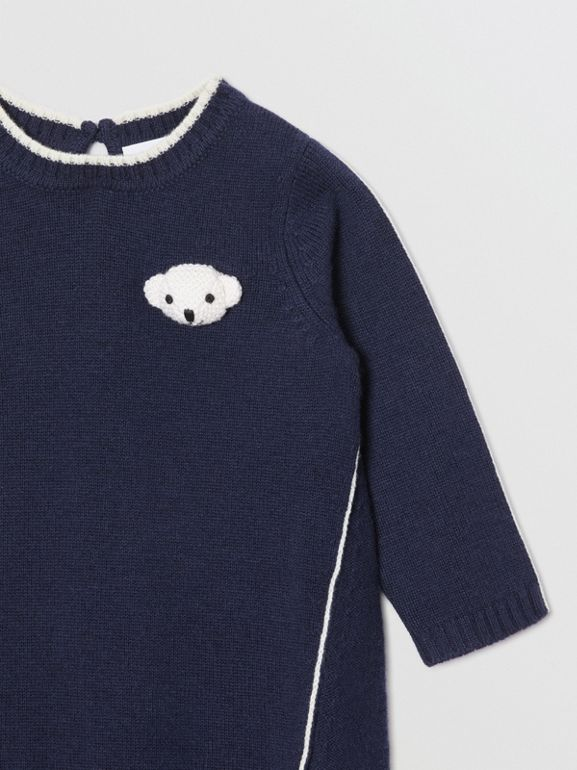 Thomas Bear Detail Wool Cashmere Sweater Dress in Navy - Children | Burberry - cell image 1