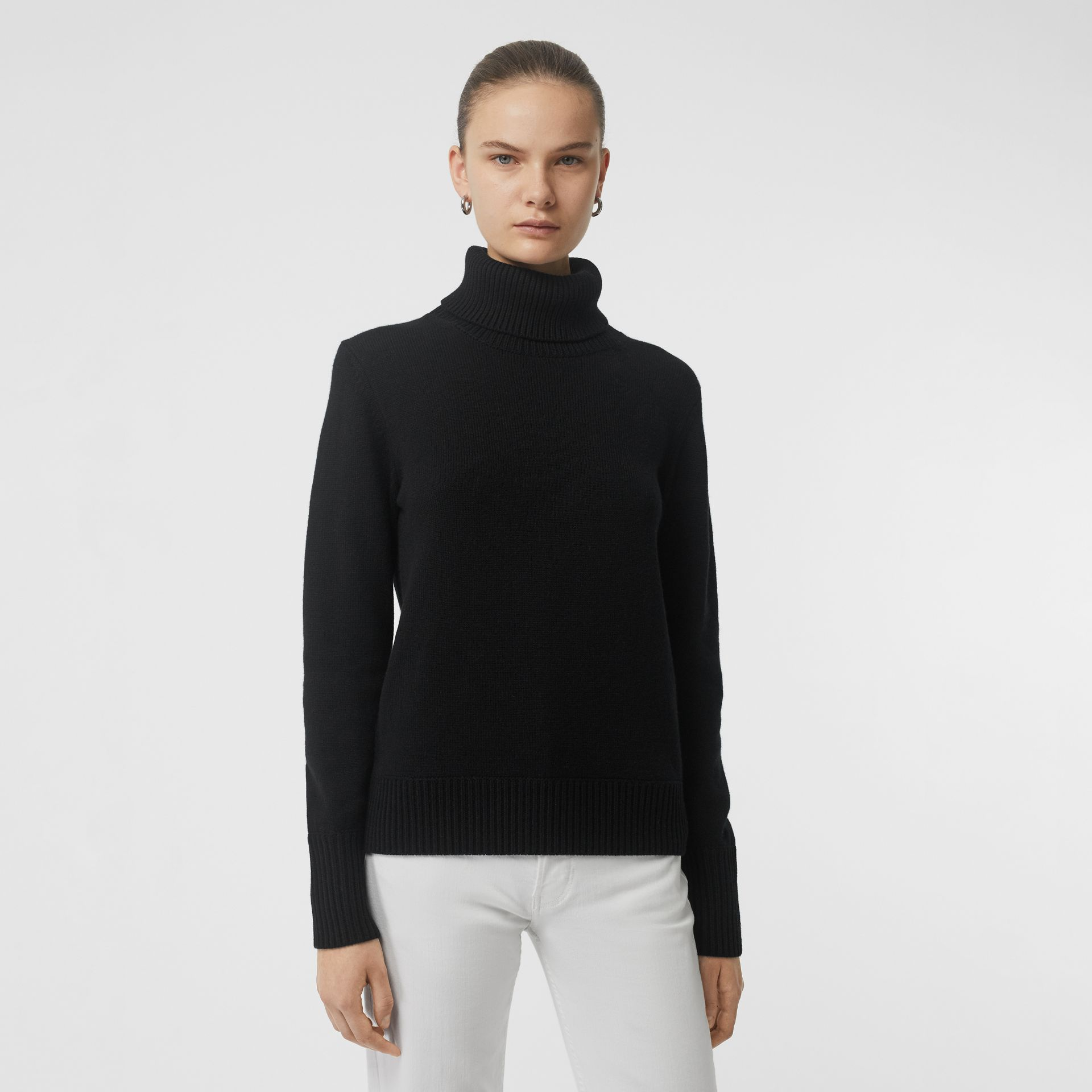 Embroidered Crest Cashmere Roll-neck Sweater in Black - Women | Burberry Australia - gallery image 0