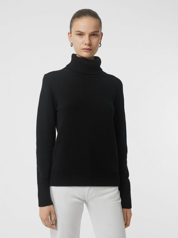 Embroidered Crest Cashmere Roll-neck Sweater in Black