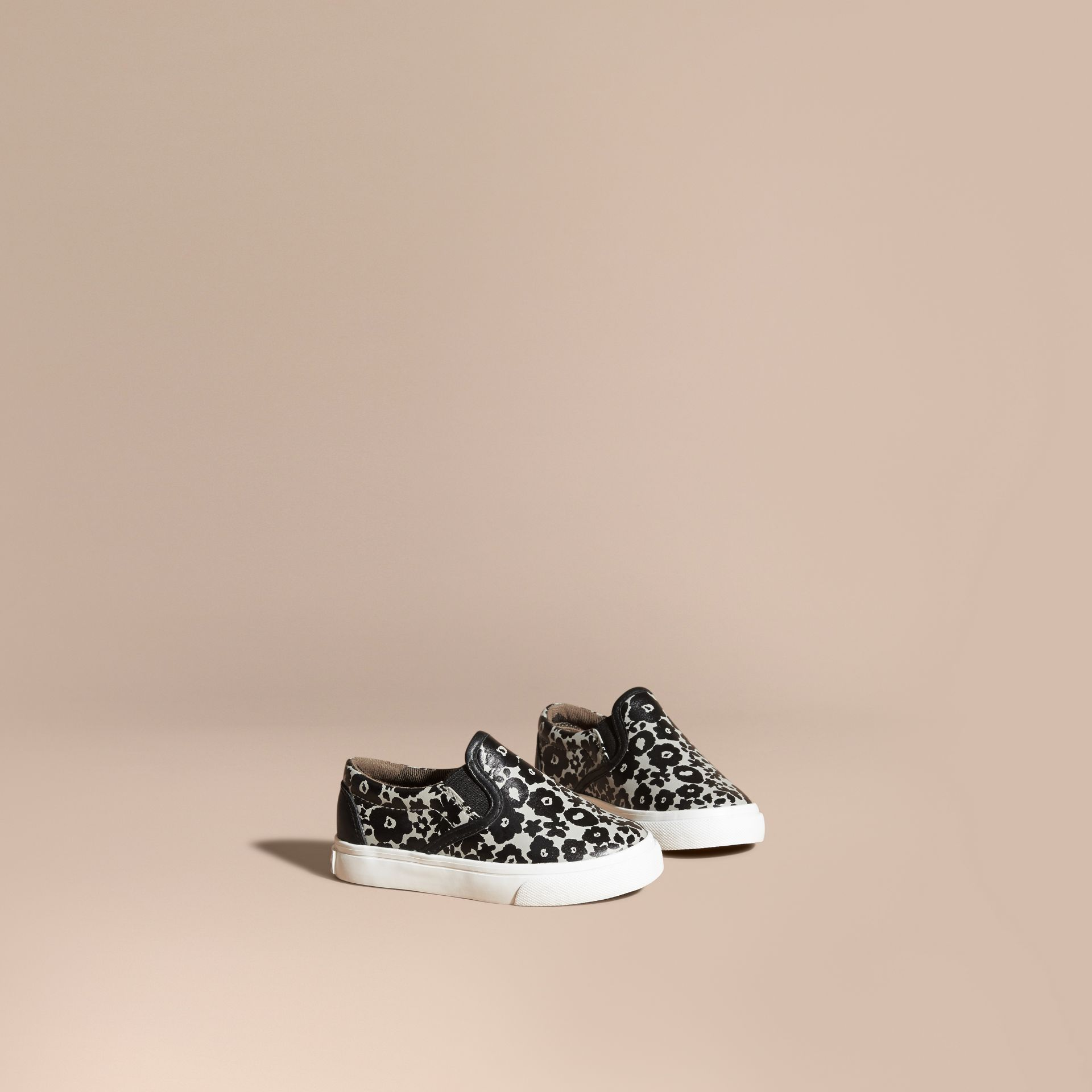 Black/white Floral Print Leather Slip-on Trainers - gallery image 1