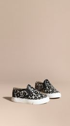 Floral Print Leather Slip-on Trainers