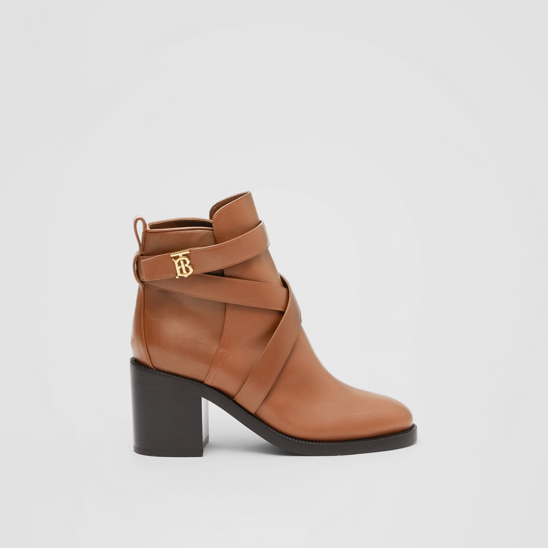 Monogram Motif Leather Ankle Boots in Tan - Women | Burberry United Kingdom - gallery image 4