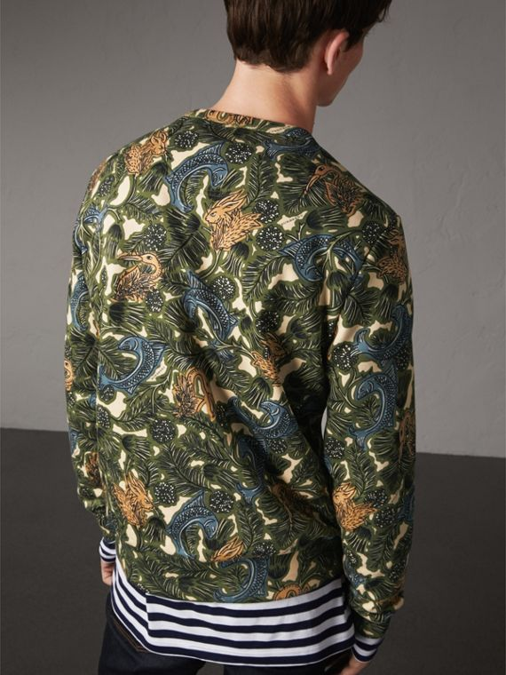 Beasts Print Cotton Sweatshirt in Sage Green - Men | Burberry - cell image 2