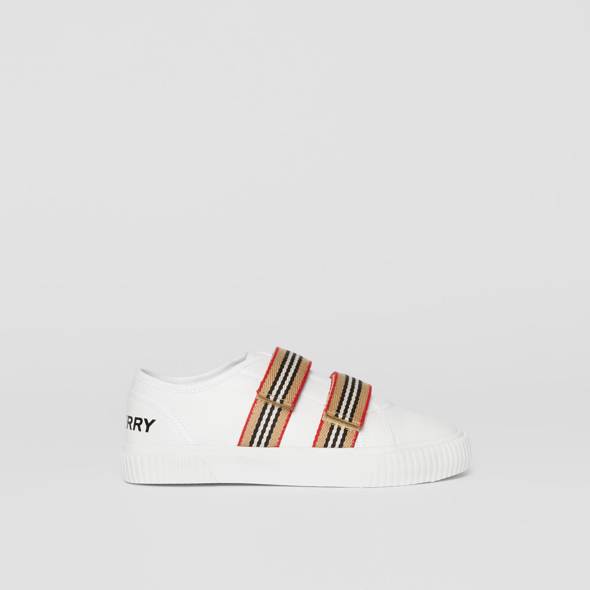 Icon Stripe Detail Leather Sneakers in White - Children | Burberry United Kingdom - gallery image 3