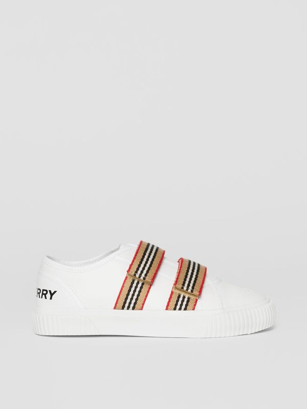 Icon Stripe Detail Leather Sneakers in White - Children | Burberry United Kingdom - cell image 3