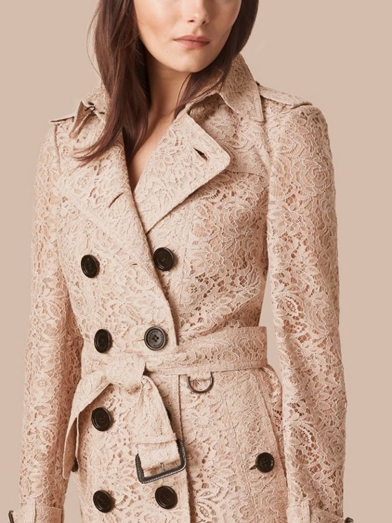 Antique taupe pink Scalloped-hem Italian Lace Trench Coat Antique Taupe Pink - cell image 3