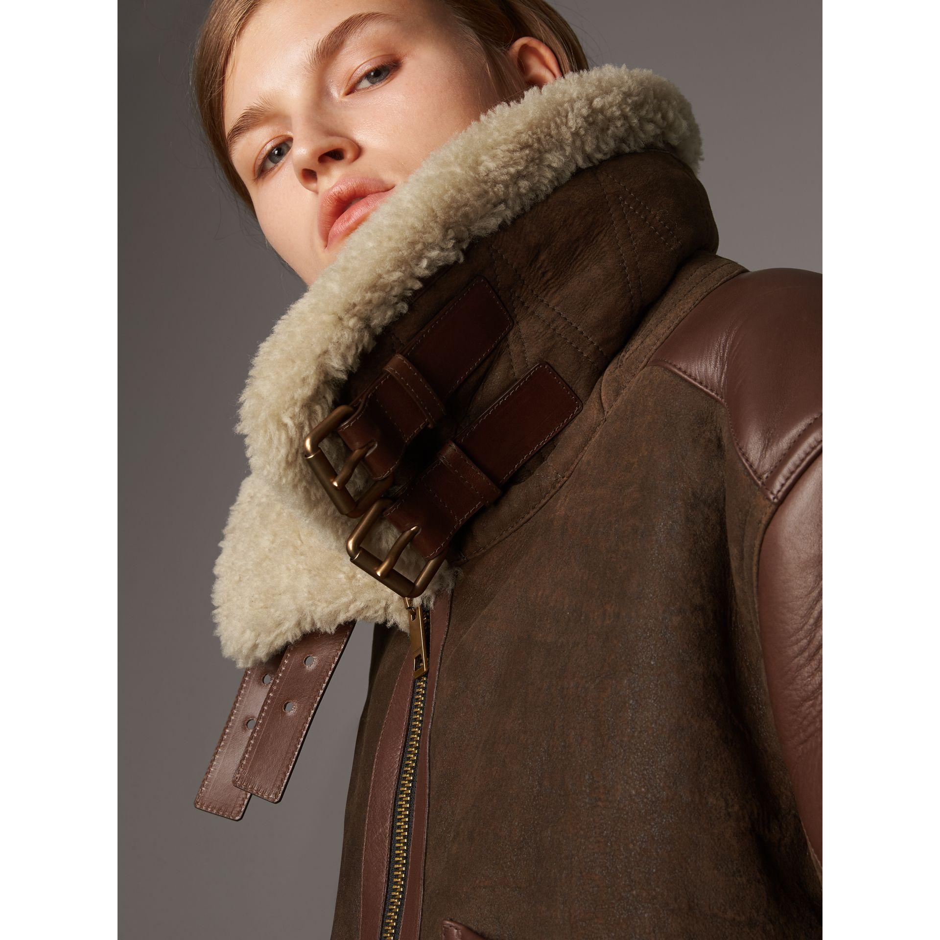 Lambskin Panelled Shearling Aviator Jacket in Dark Chocolate - Women | Burberry - gallery image 4