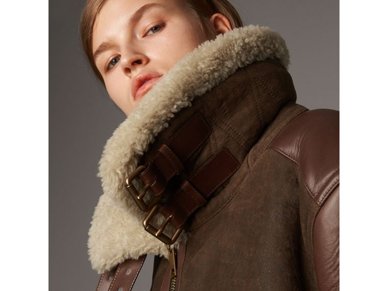 Lambskin Panelled Shearling Aviator Jacket in Dark Chocolate - Women | Burberry - cell image 4