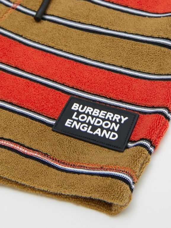 Logo Appliqué Striped Towelling Shorts in Vermilion Red - Children | Burberry Hong Kong S.A.R - cell image 1