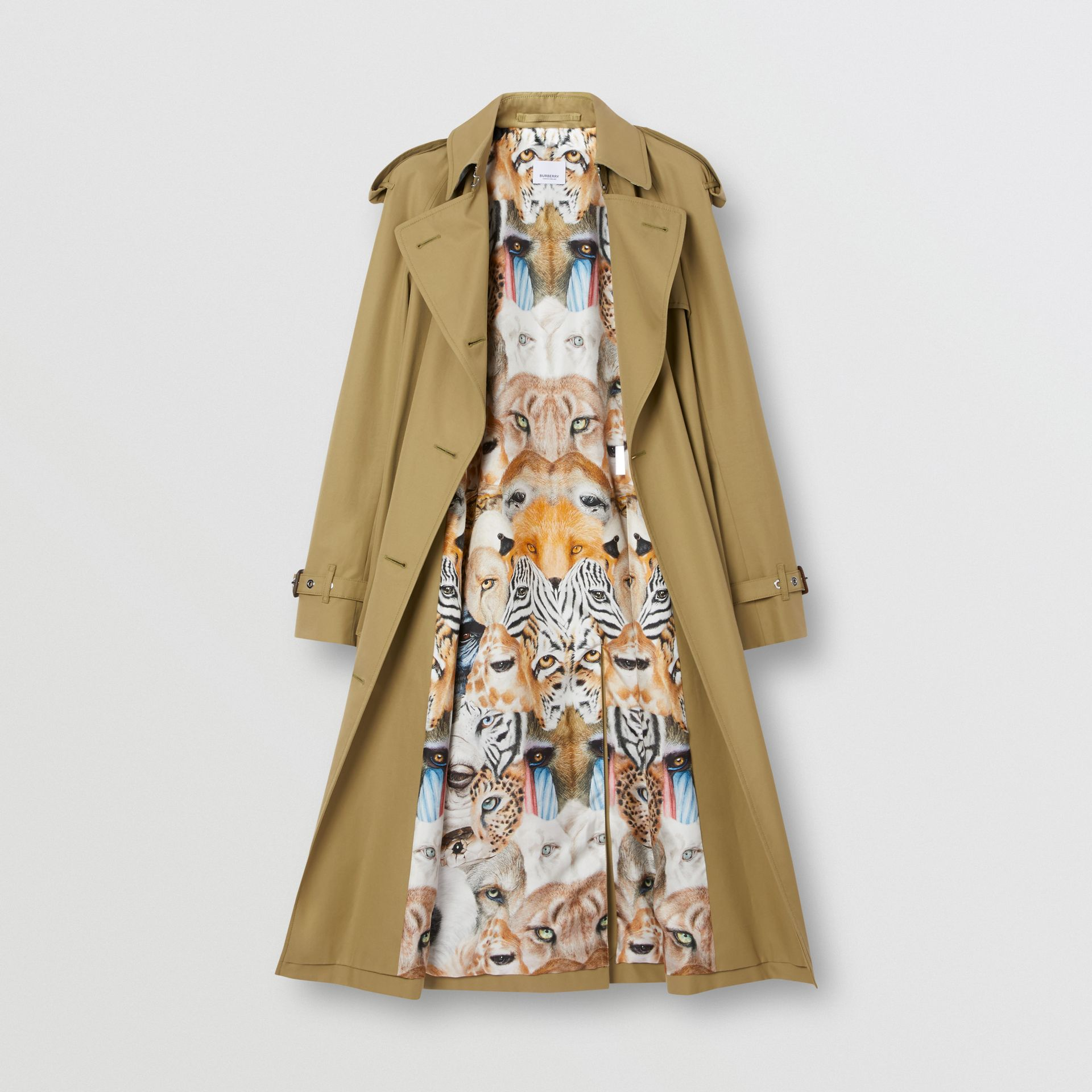 Animalia Print-lined Cotton Gabardine Trench Coat in Rich Olive - Women | Burberry - gallery image 8