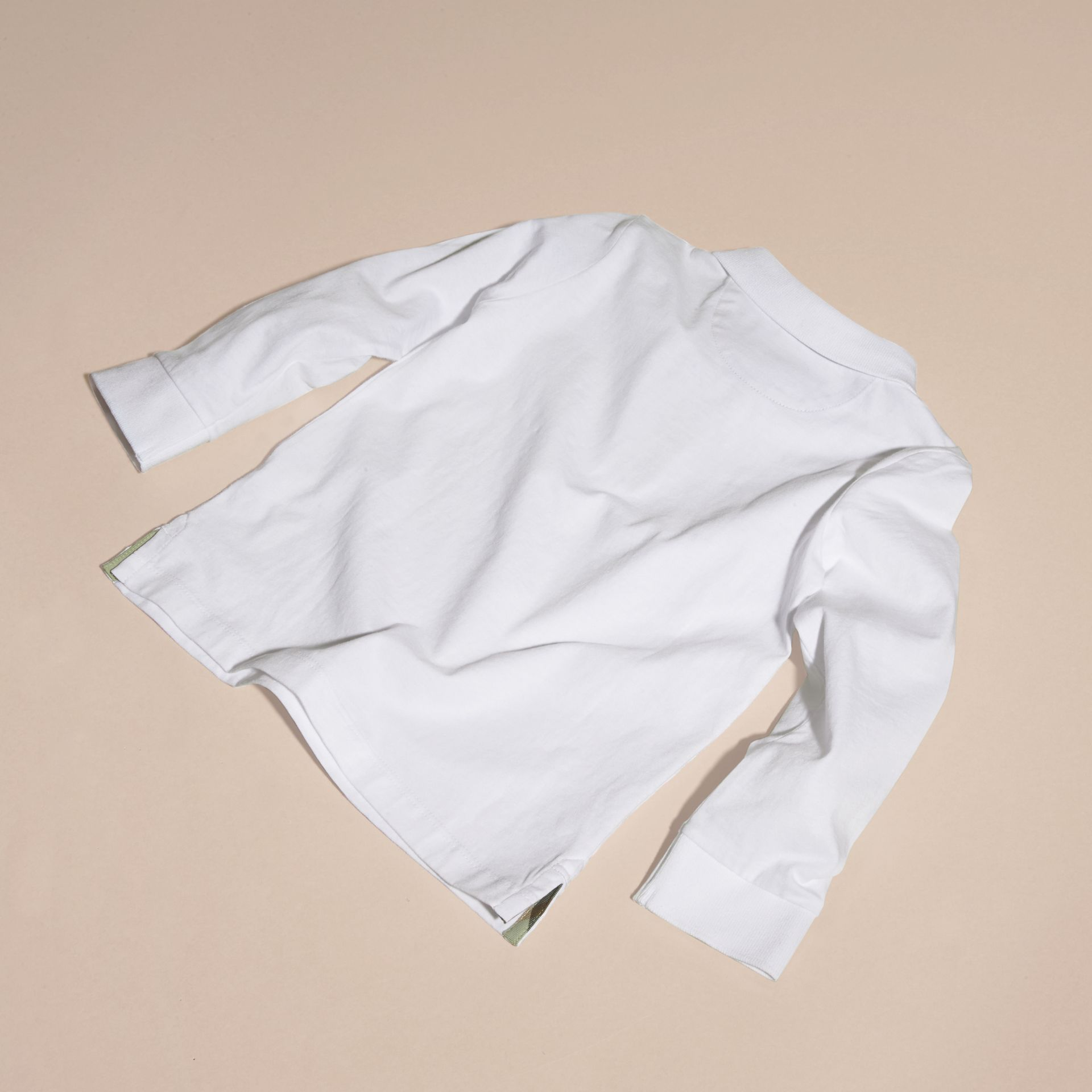Long-sleeved Cotton Polo Shirt White - gallery image 4
