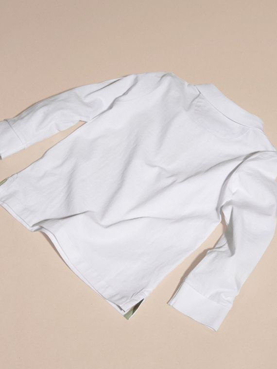White Long-sleeved Cotton Polo Shirt White - cell image 3
