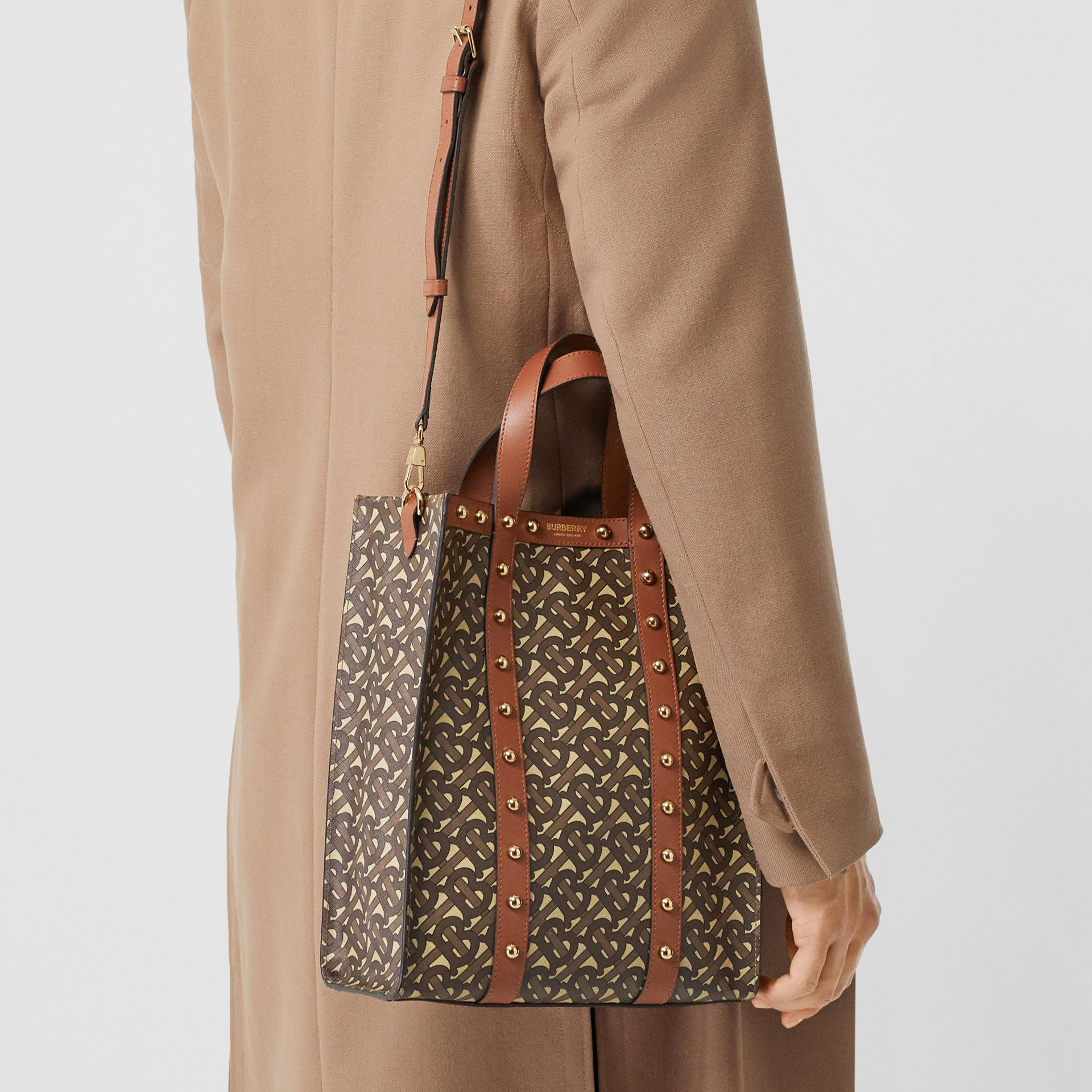 Small Monogram Print E-canvas Portrait Tote Bag in Tan - Women | Burberry - gallery image 11