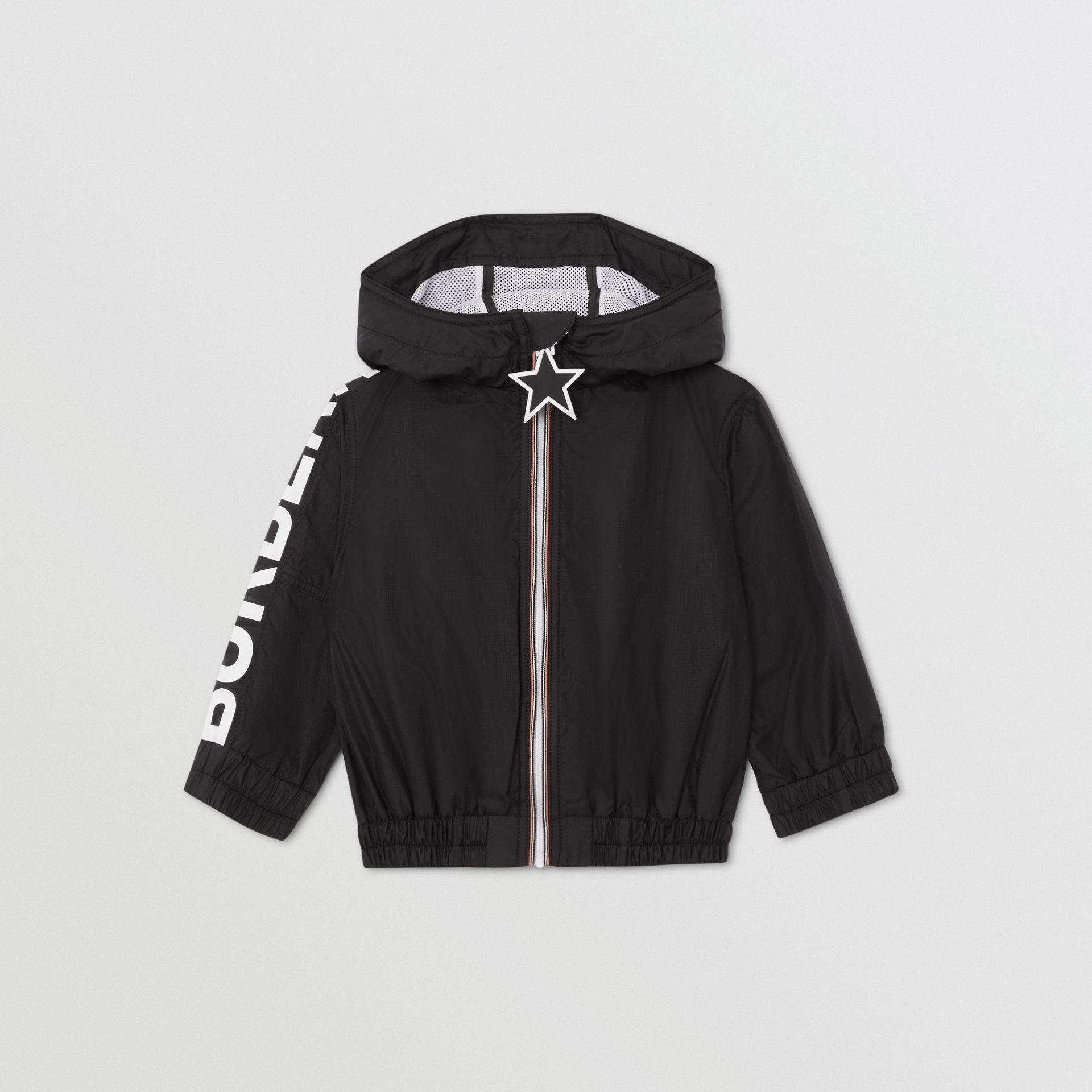 Star Detail Logo Print Lightweight Hooded Jacket in Black - Children | Burberry Canada - gallery image 0