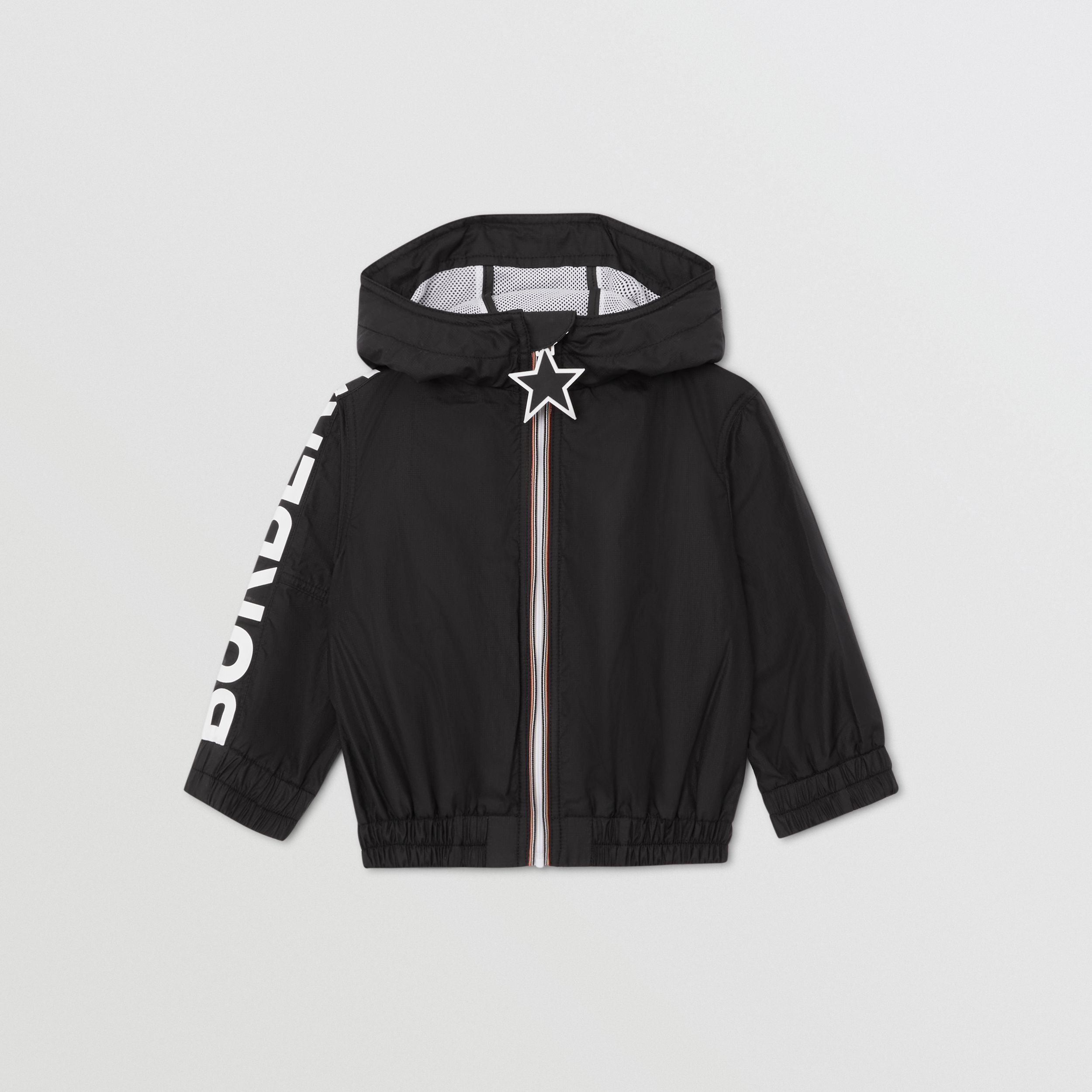 Star Detail Logo Print Lightweight Hooded Jacket in Black - Children | Burberry - 1