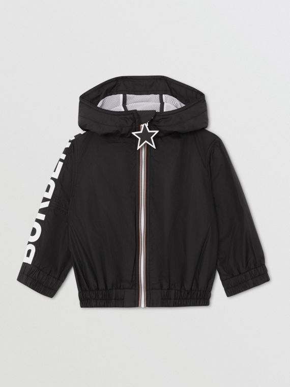 Star Detail Logo Print Lightweight Hooded Jacket in Black