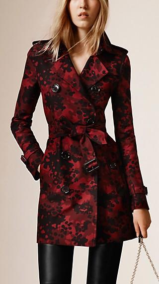 Trench-coat en coton à motif camouflage tissé en jacquard