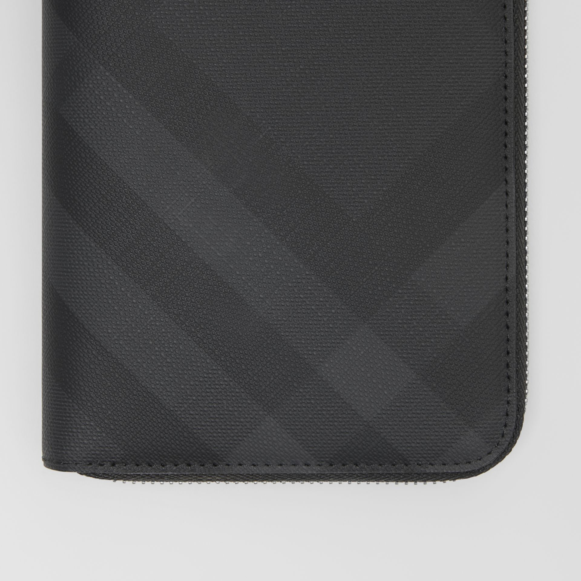 London Check and Leather Ziparound Wallet in Dark Charcoal - Men | Burberry - gallery image 1