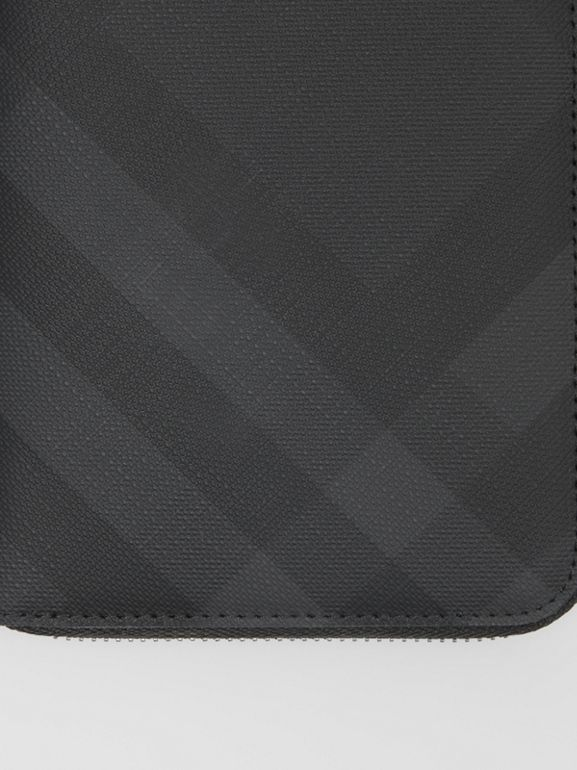 London Check and Leather Ziparound Wallet in Dark Charcoal - Men | Burberry - cell image 1