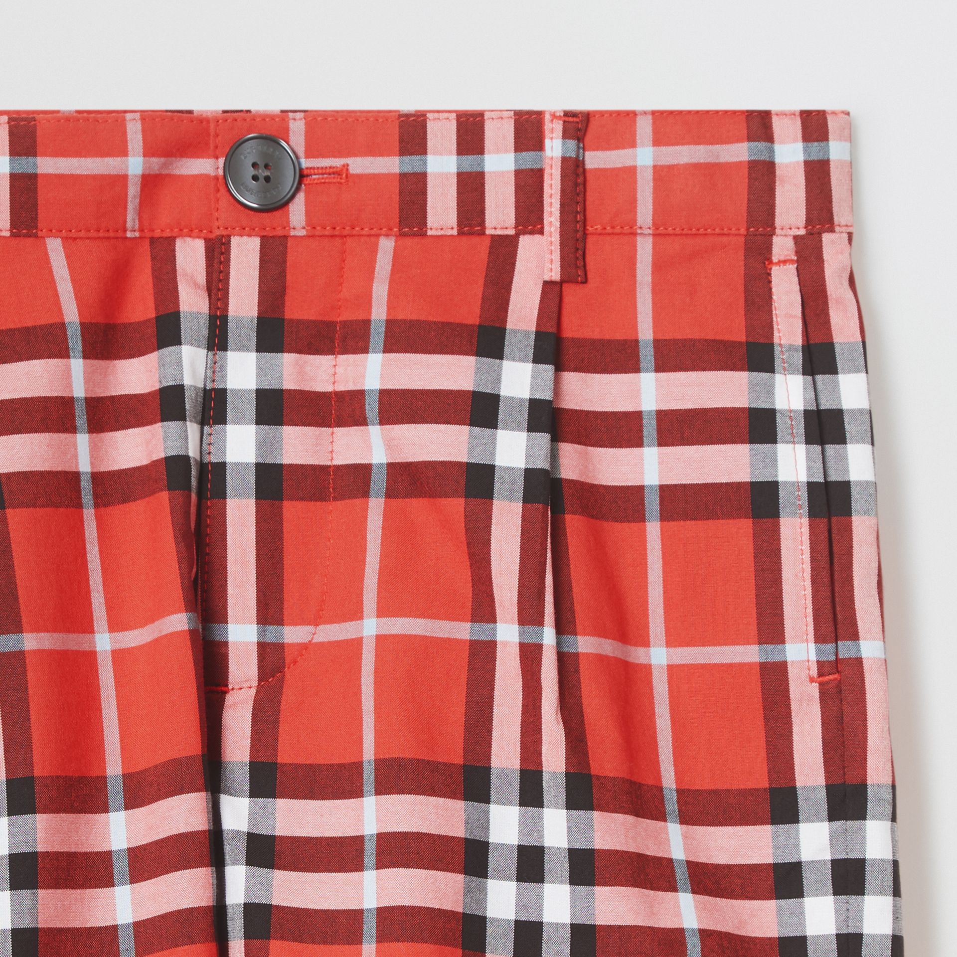 Check Cotton Tailored Shorts in Orange Red | Burberry - gallery image 4