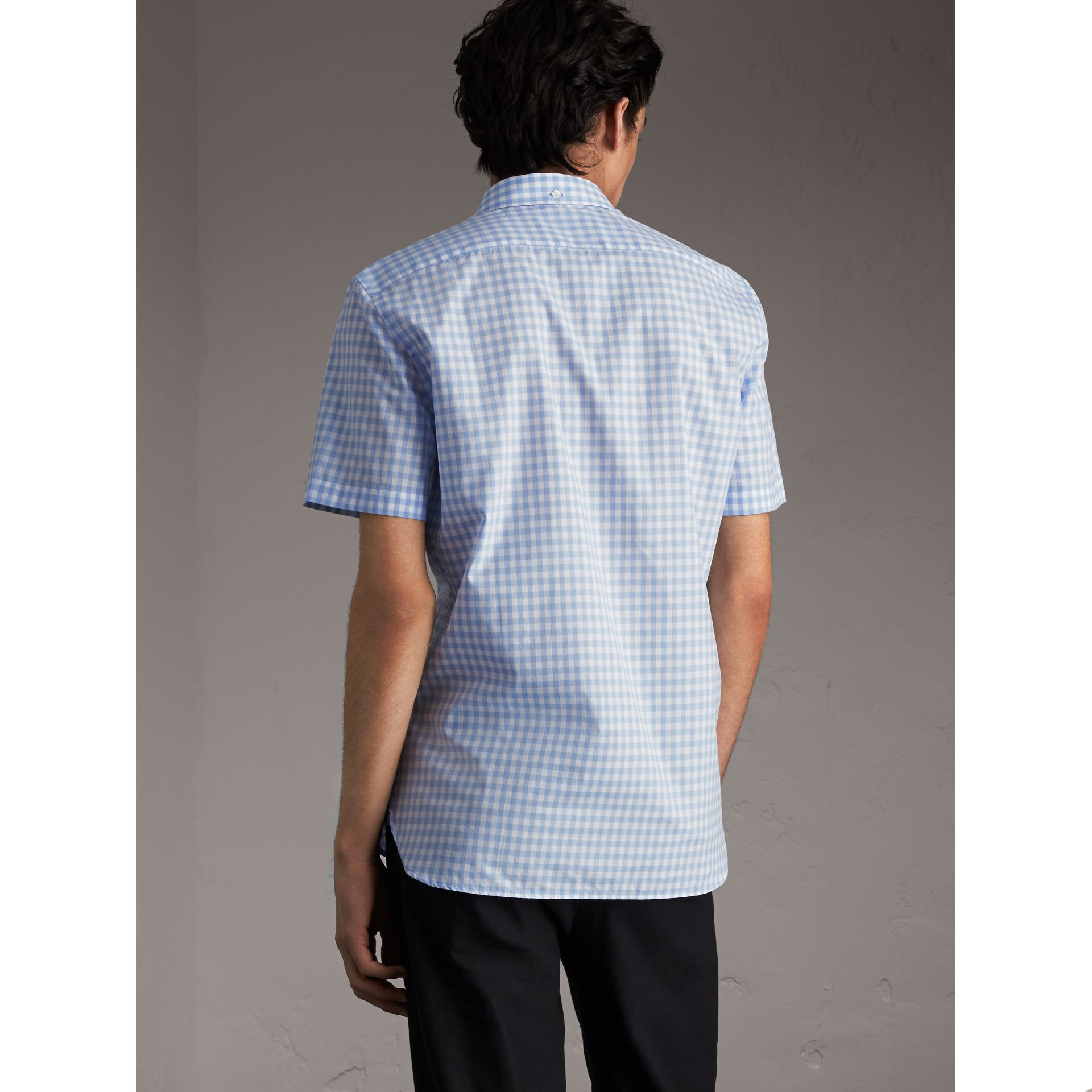 Short-sleeve Button-down Collar Cotton Gingham Shirt in Pale Blue - Men | Burberry United Kingdom - gallery image 3