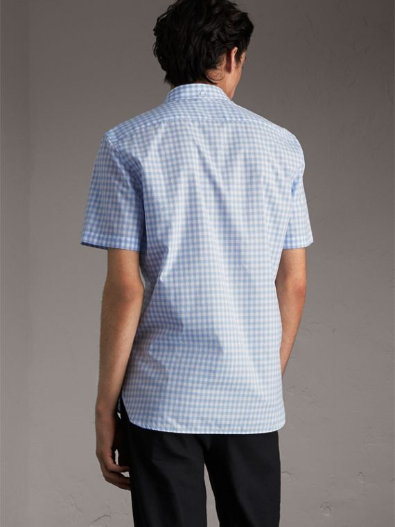 Short-sleeve Button-down Collar Cotton Gingham Shirt in Pale Blue - Men | Burberry United Kingdom - cell image 2