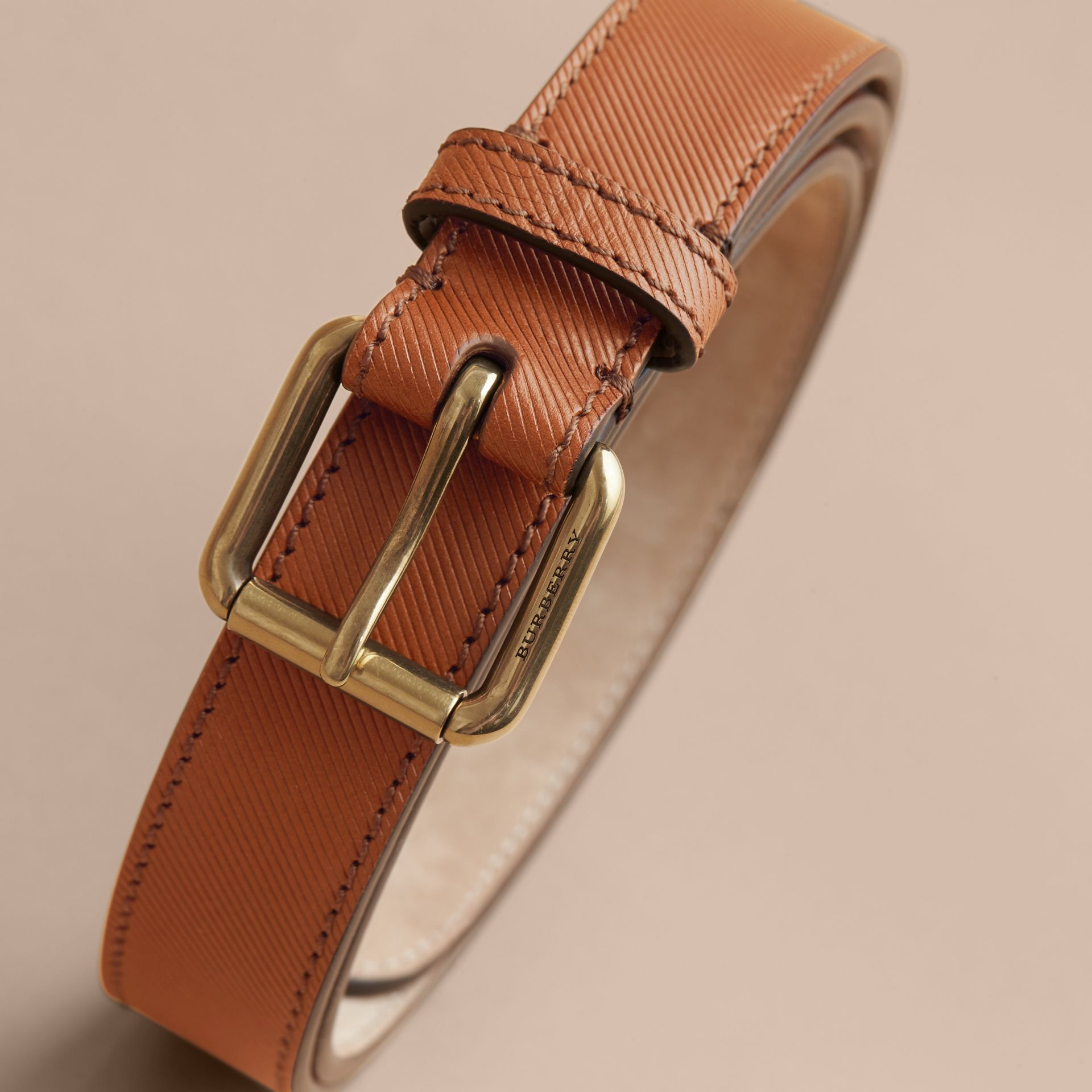 Trench Leather Belt in Tan - Men | Burberry United Kingdom - gallery image 4