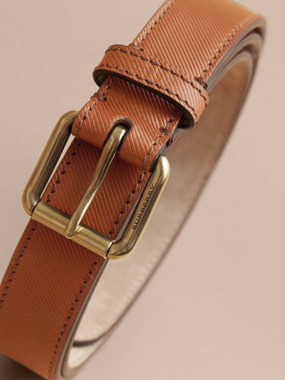 Trench Leather Belt in Tan - Men | Burberry Canada - cell image 3